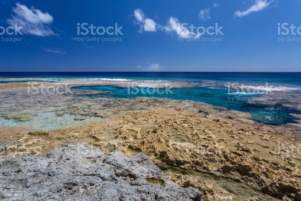 Reef flats and tidal pools in Niue, a South Pacific Island stock photo