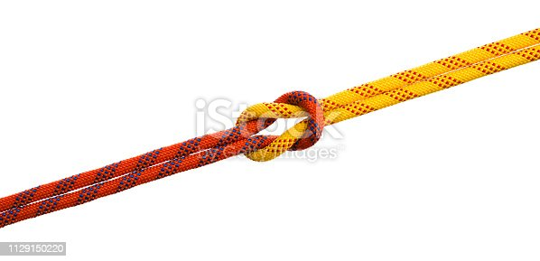 Reef knot on white background.