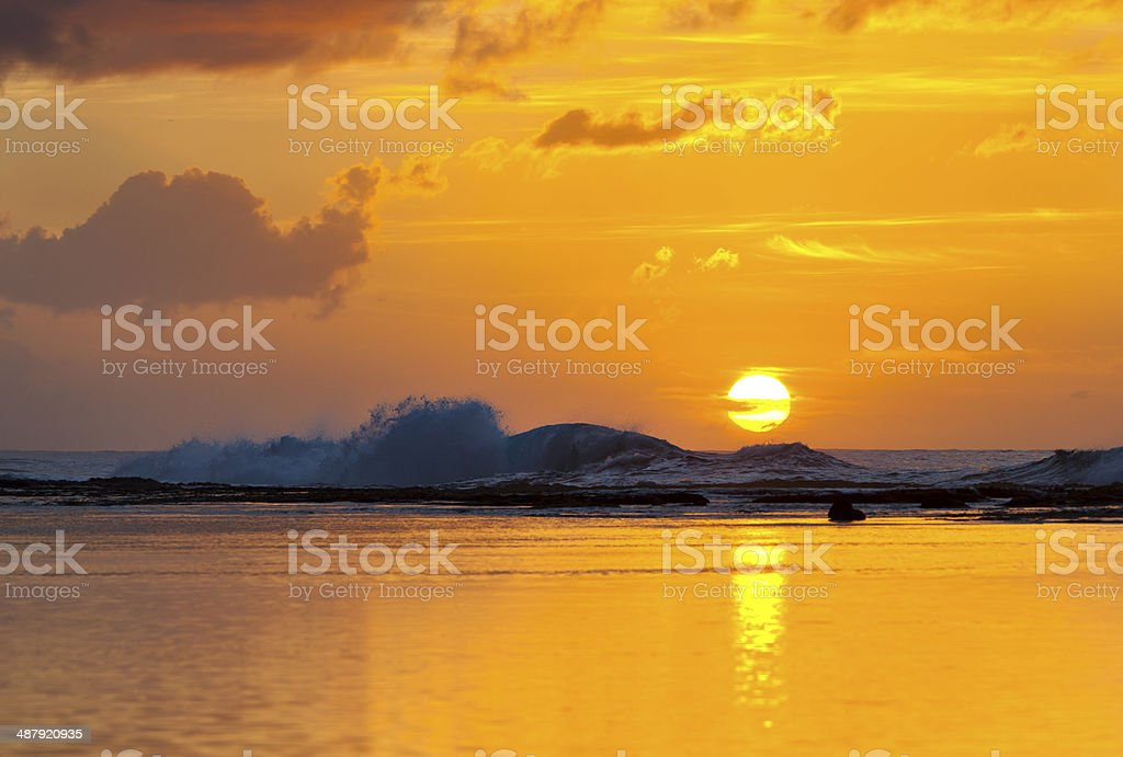 Reef Sunset, Kauai stock photo