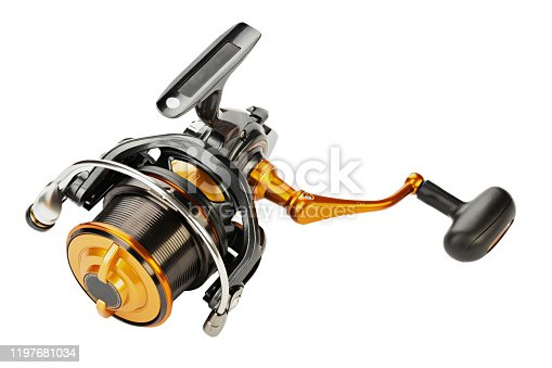 864720746 istock photo Reel for fishing. Feeder tackle  on a white background isolated. 1197681034