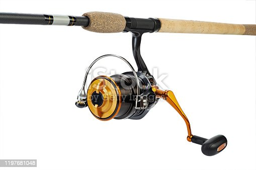 864720746 istock photo Reel for fishing. Feeder tackle  on a white background isolated. 1197681048