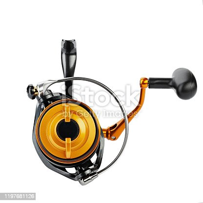 864720746 istock photo Reel for fishing. Feeder tackle  on a white background isolated. 1197681126