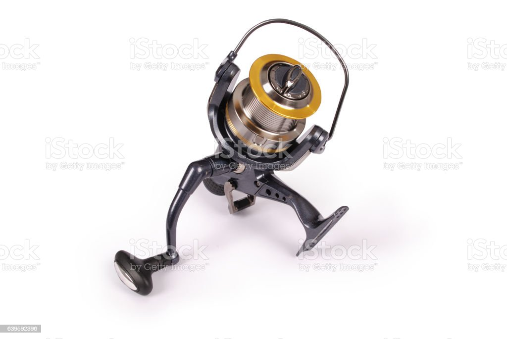 Reel for fishing rods (Clipping path) stock photo