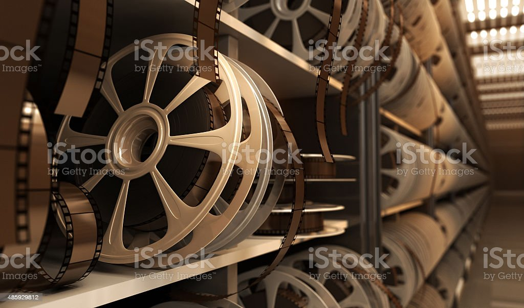 reel with tape reel with tape in storage room 2015 Stock Photo