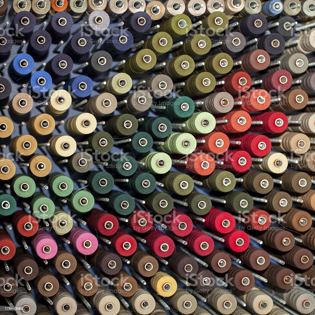 Reels with colorful threads stock photo