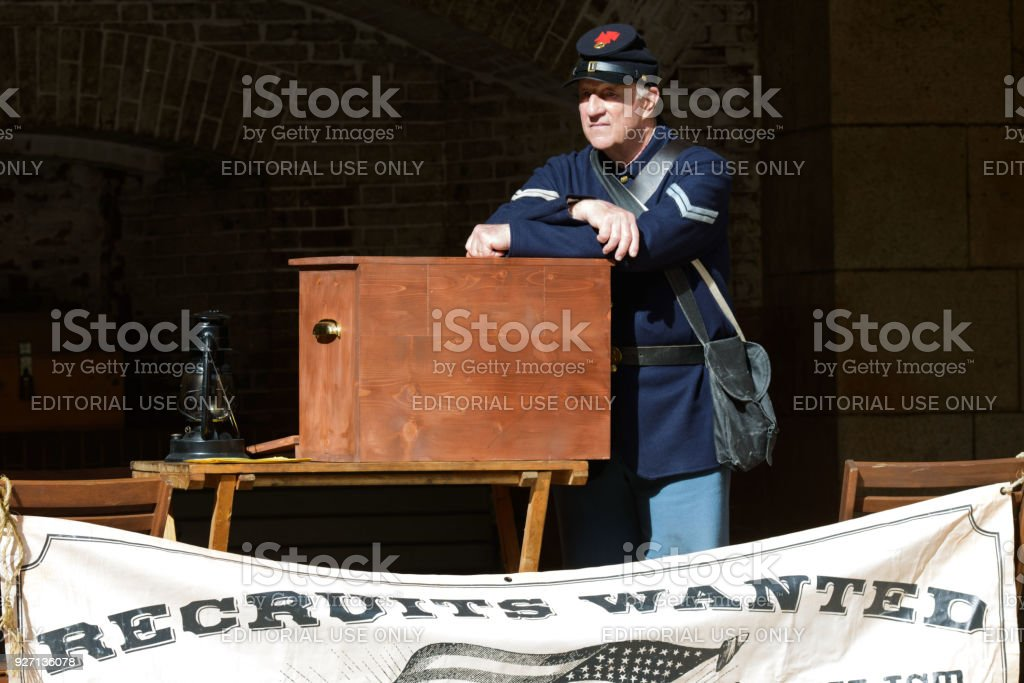 Re-enactment of a early 20th Century Army Recruiter at Fort Point stock photo