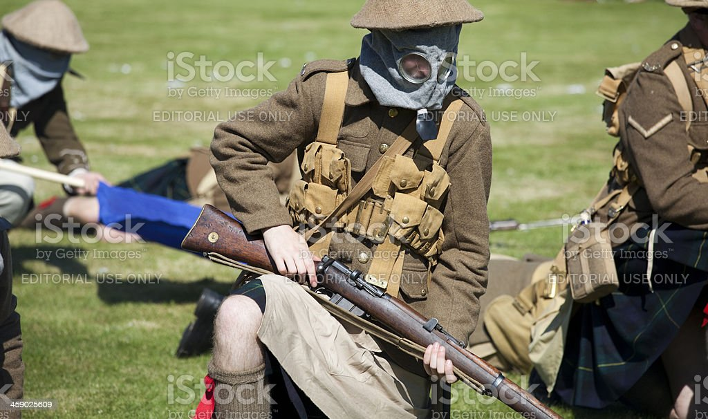 Re-enactment of an attack by soldiers during World War One royalty-free stock photo