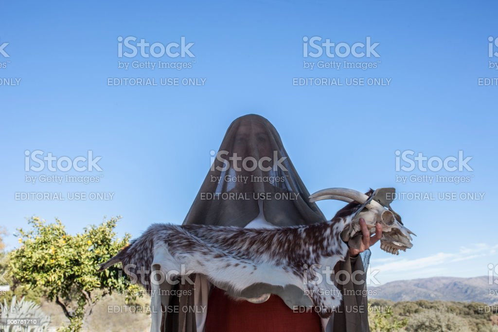 Reenactment of Iberian Goddess Ataecina ritual. Priestess with goat stock photo