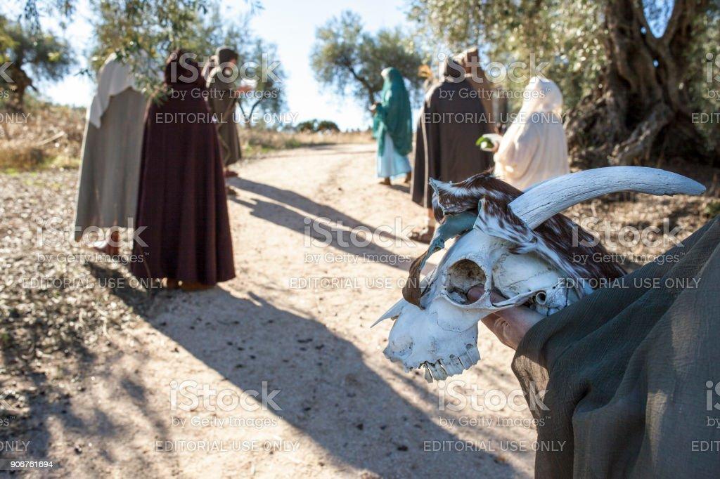 Reenactment of Iberian Goddess Ataecina ritual. Priestess with entourage stock photo