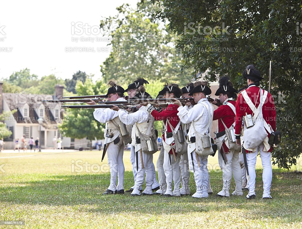 Reenactment of Redcoats Seizing Williamsburg royalty-free stock photo