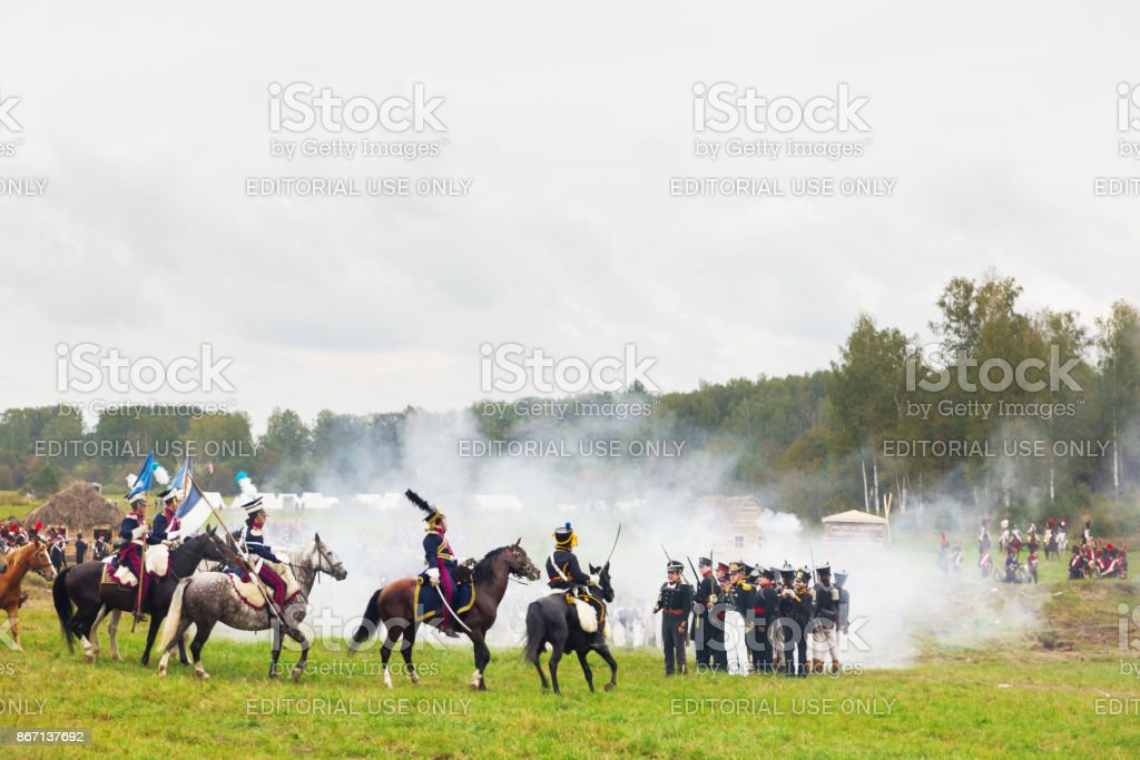Reenactment Of The Battle Of Borodino Tourists Watch The Performance