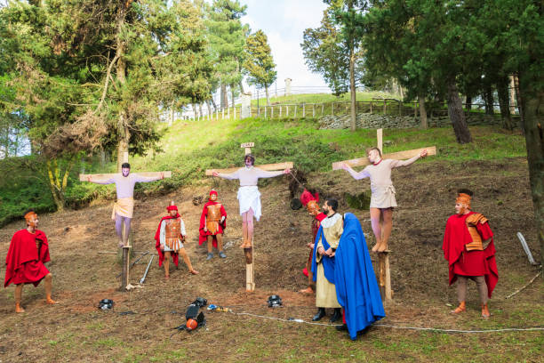 Reenactment of the crucifixion of Jesus Christ, in the medieval hill town of Montalbano Elicona. stock photo