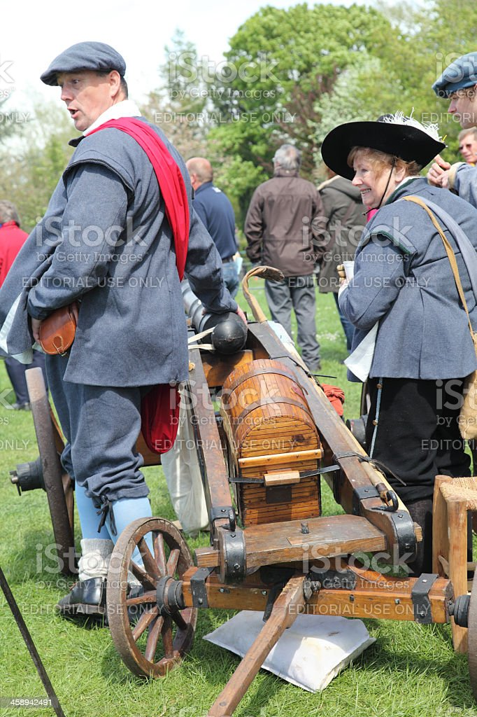 Reenactment with cannon royalty-free stock photo