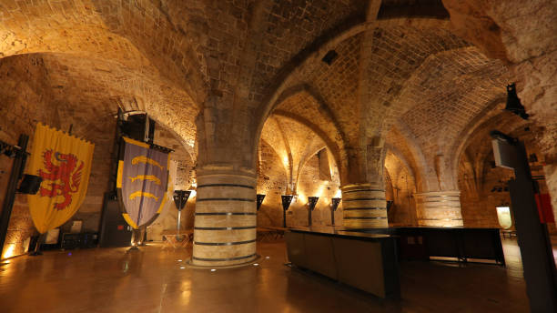 Refectory of the Citadel of Acre stock photo