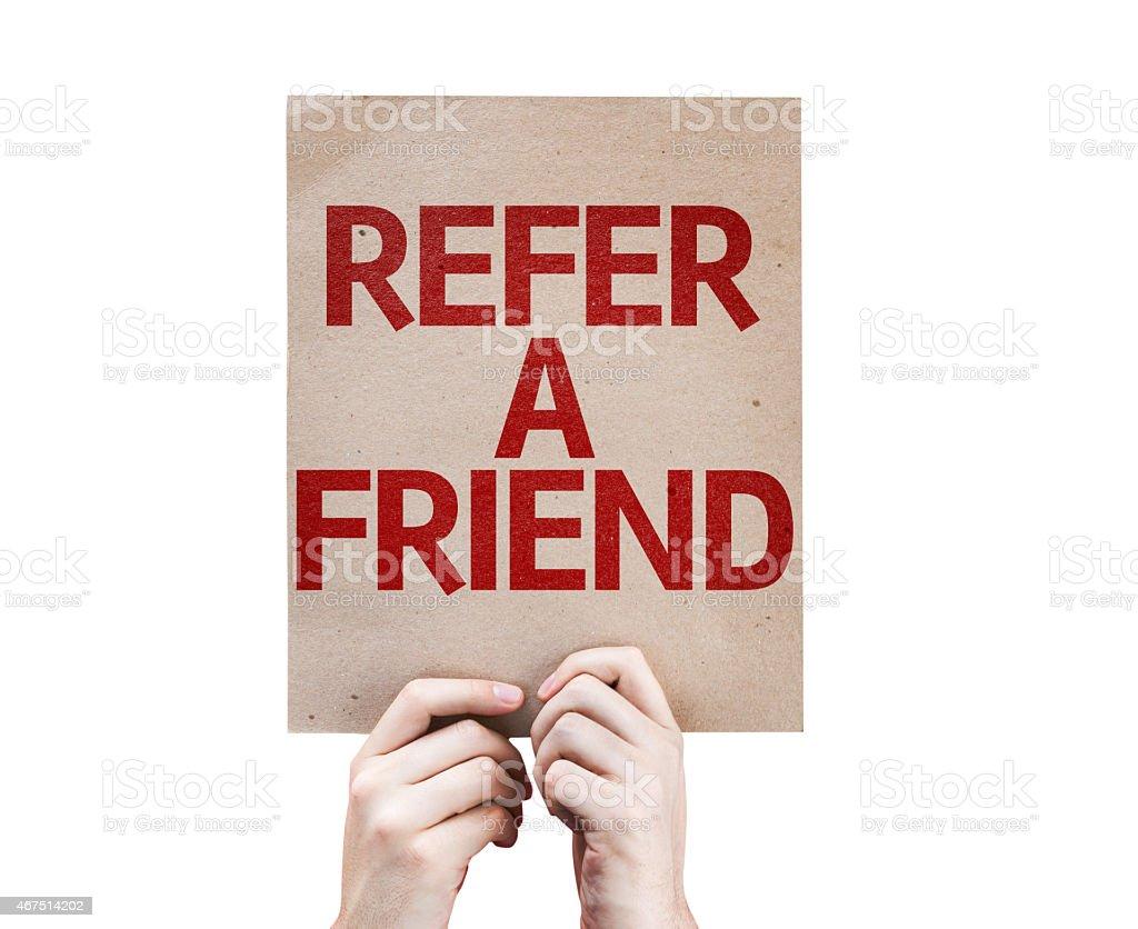 Parlez-en à un ami carte isolé sur fond blanc photo libre de droits