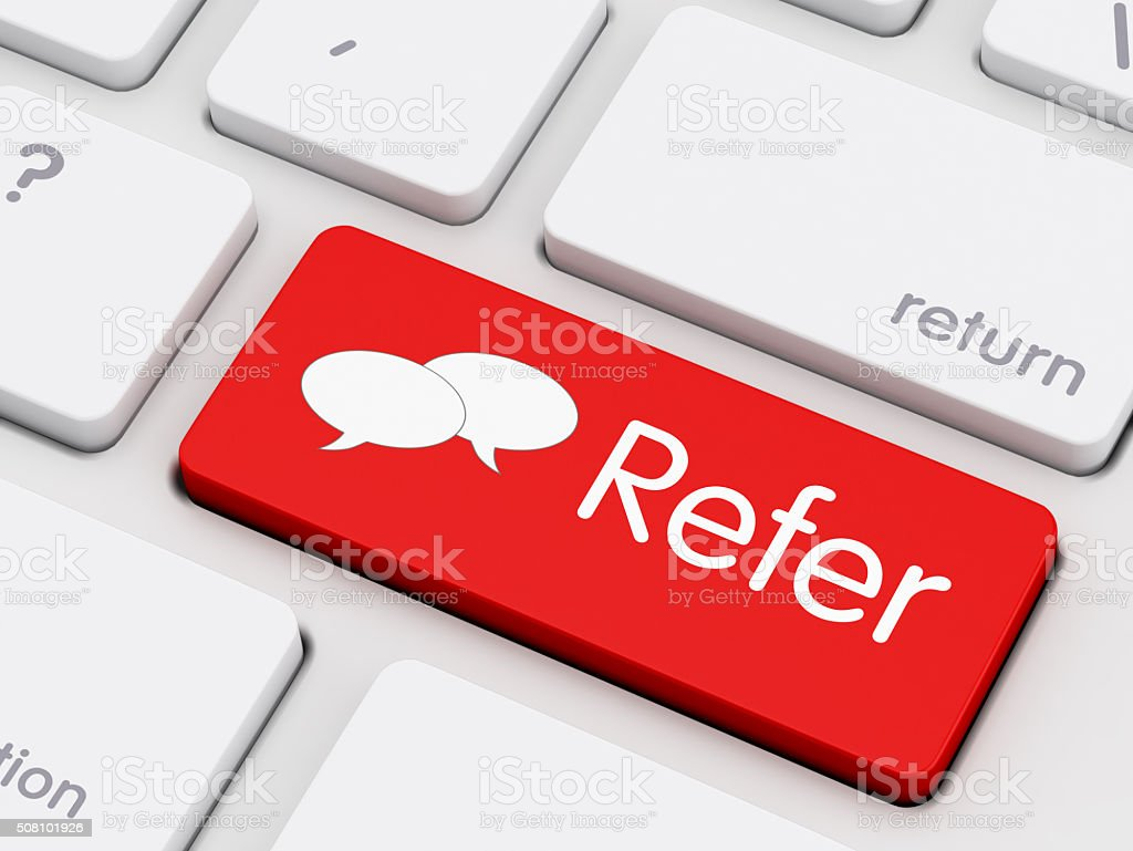 Refer written on keyboard key stock photo