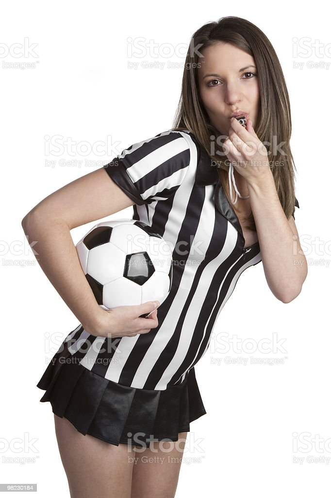 Referee Holding Soccer Ball royalty-free stock photo