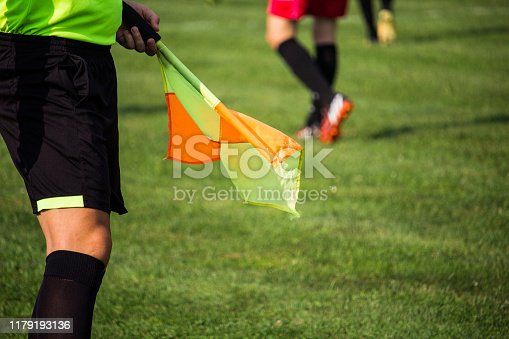 Referee with flag in a soccer match walks by the line