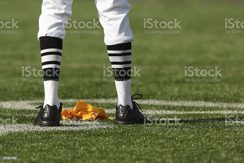 Referee Legs and Flag stock photo