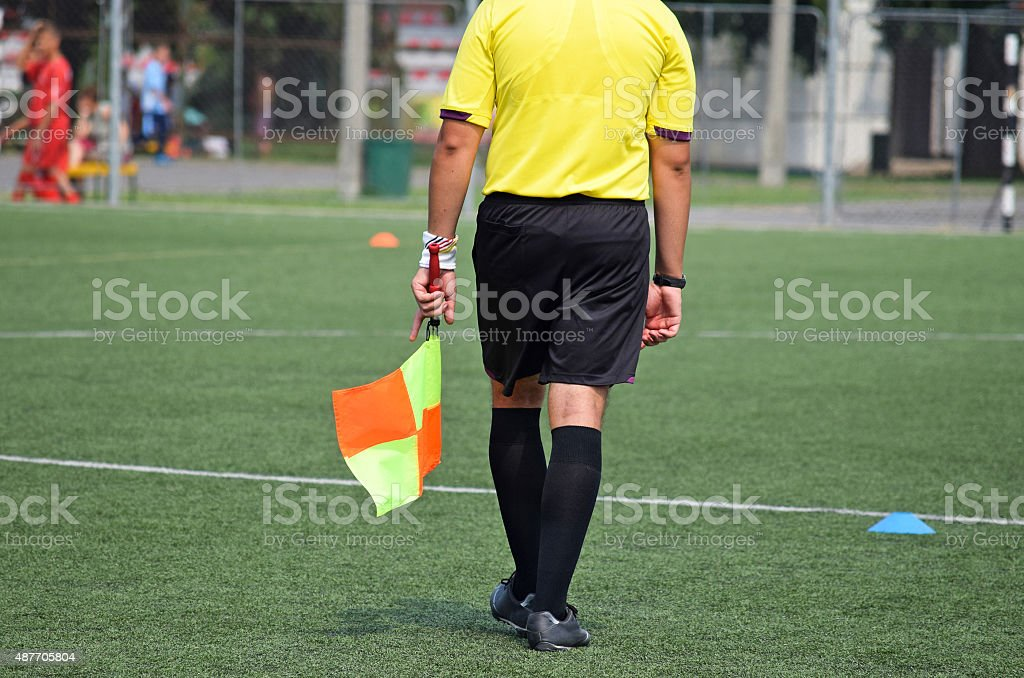 Referee of the soccer match stock photo