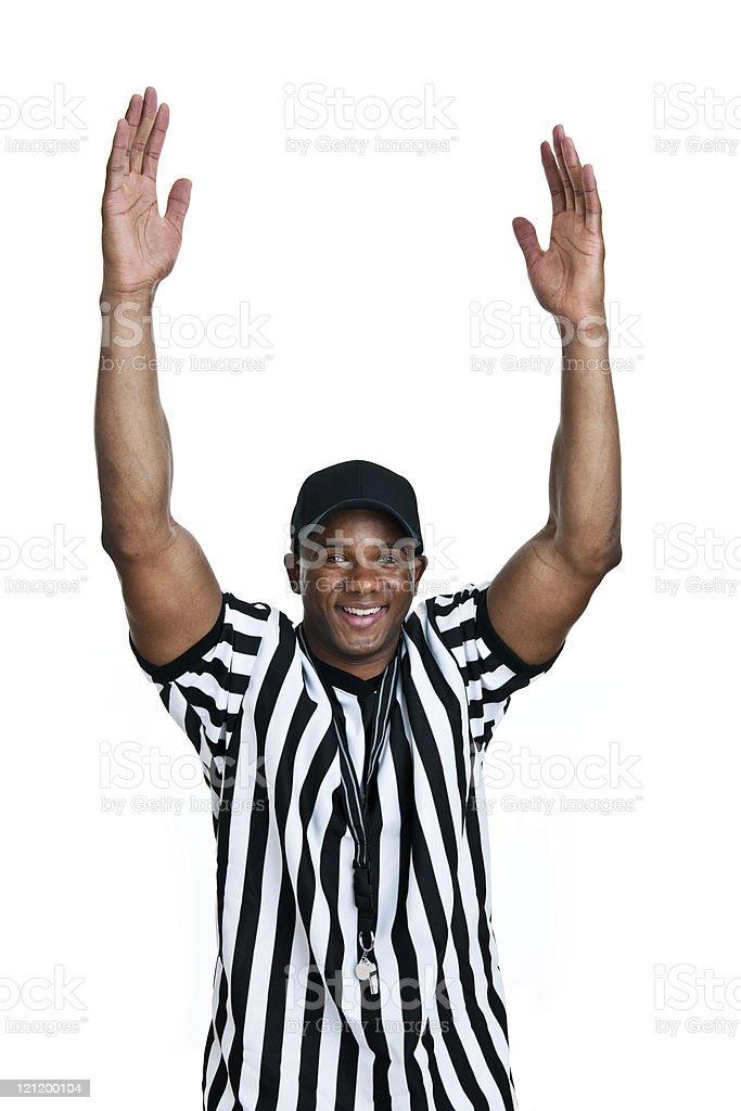 Referee shot on white background stock photo