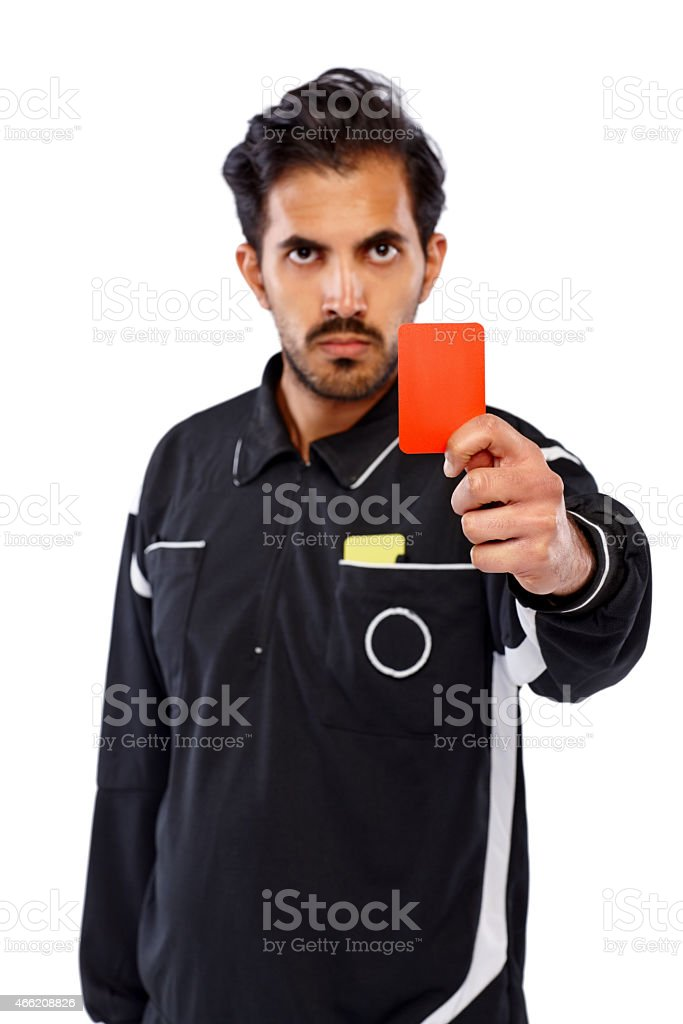 Referee showing red card stock photo