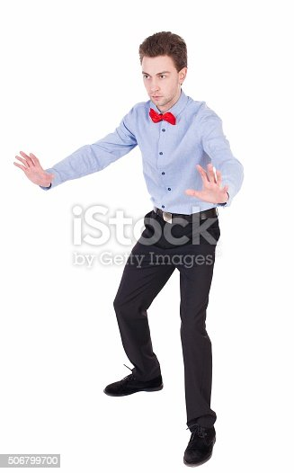 521301688 istock photo Referee suit and tie butterfly separates boxers. 506799700