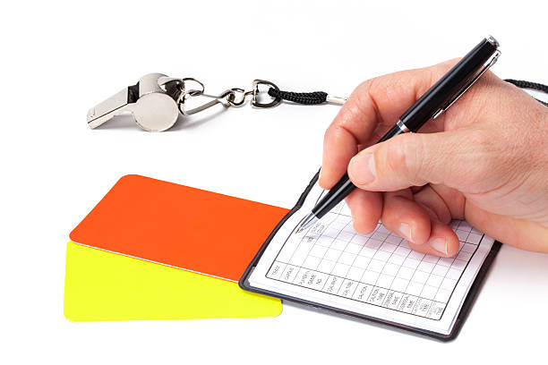 Referee With His Accessories Before the Football Match stock photo