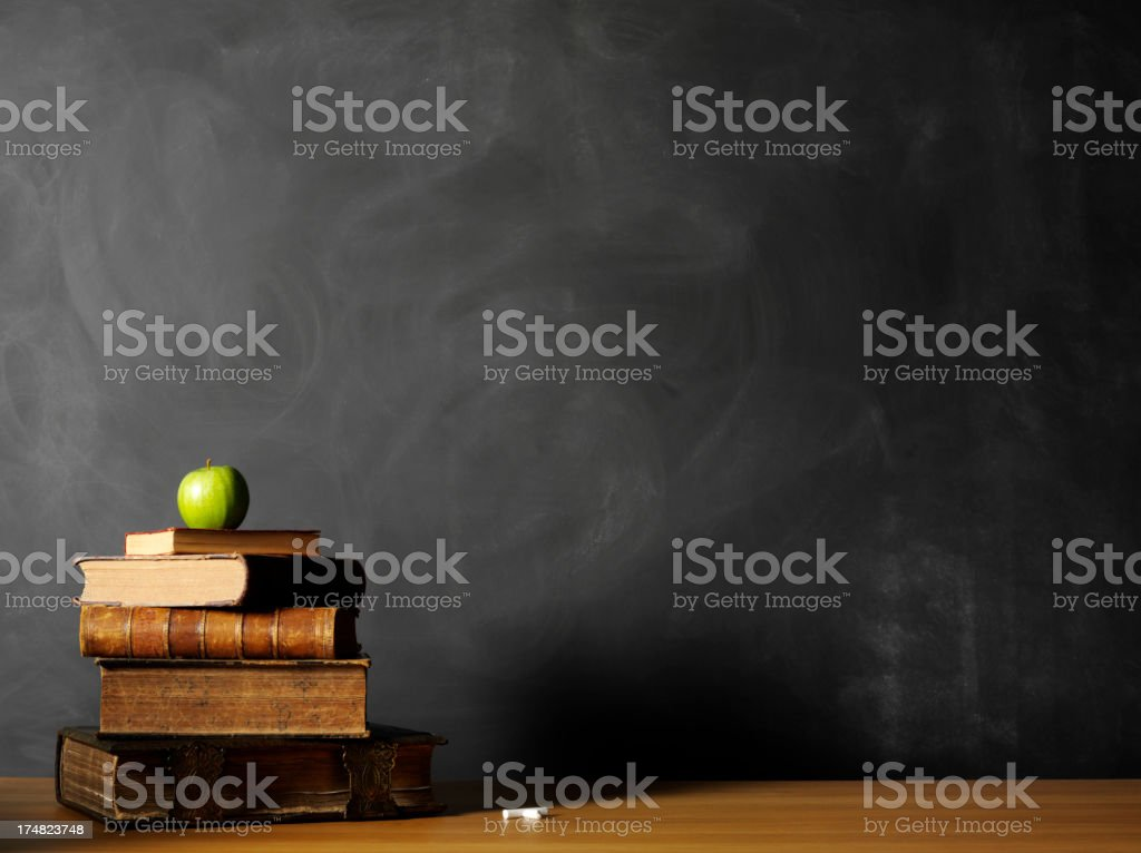 Reference books on Teachers Desk in the Classroom royalty-free stock photo