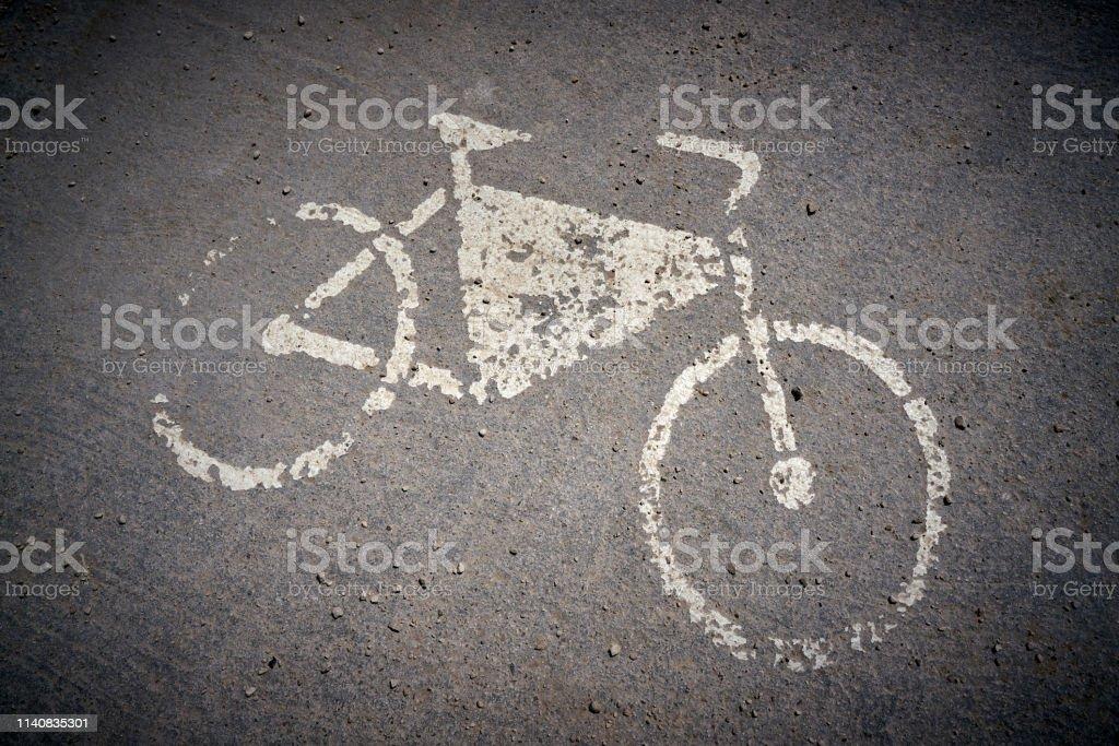 Hinweis auf eine Fahrradspur – Foto