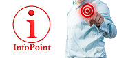 Reference to an info point with man in blue shirt as a template for service-oriented companies