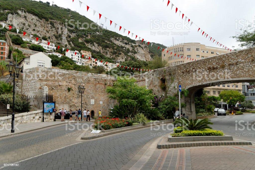 Referendum Gate (Referendum Arch) in Charles V Wall, Gibraltar. stock photo