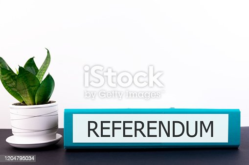 826166958 istock photo referendum inscription on the office folder lying on a dark table with a flowerpot and flower on a light background 1204795034