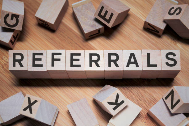 Referrals Word In Wooden Cube stock photo