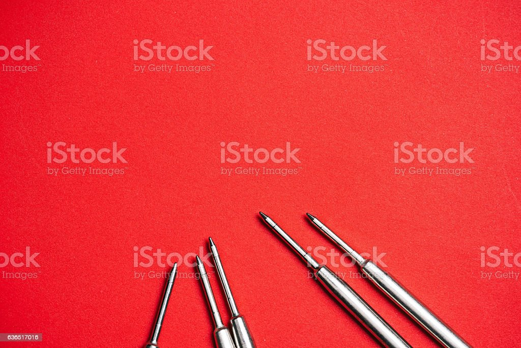 Refills on red stock photo