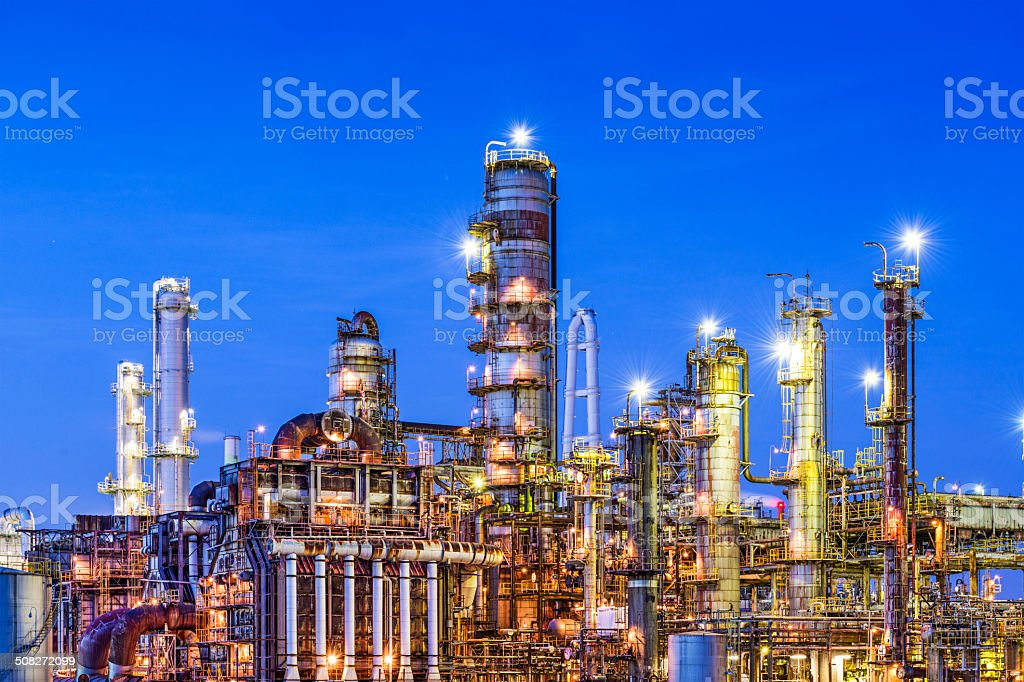 Refineries on a River stock photo