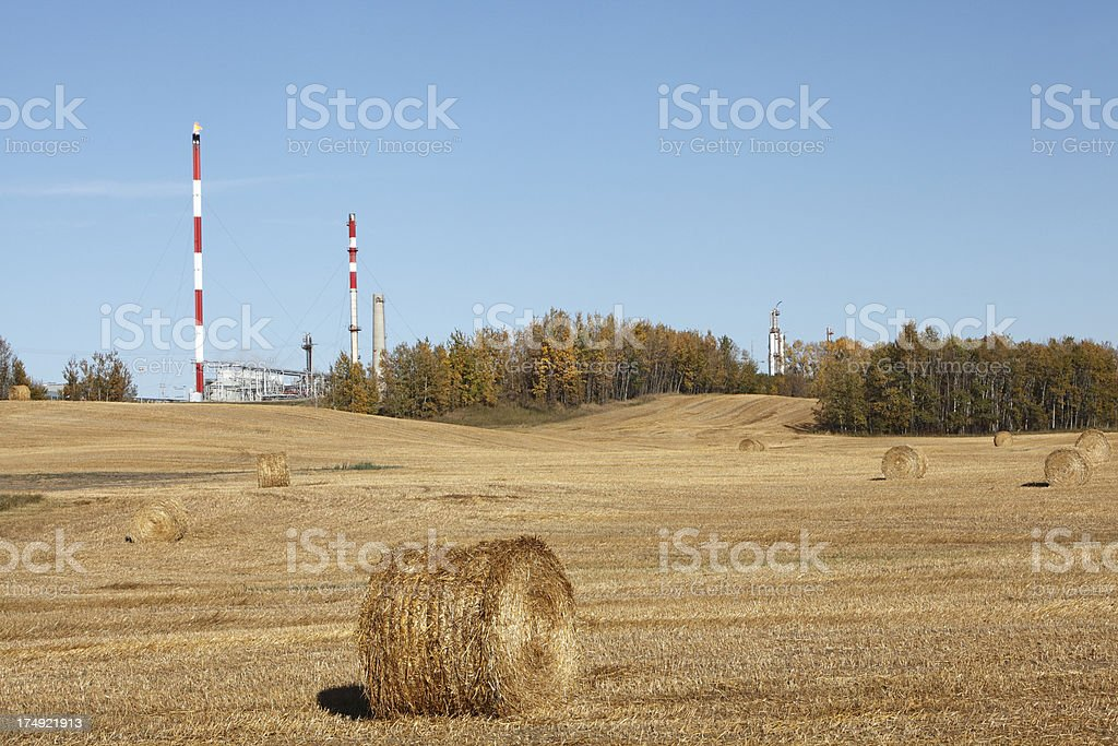 Refinery And Agriculture Fall Scenic royalty-free stock photo