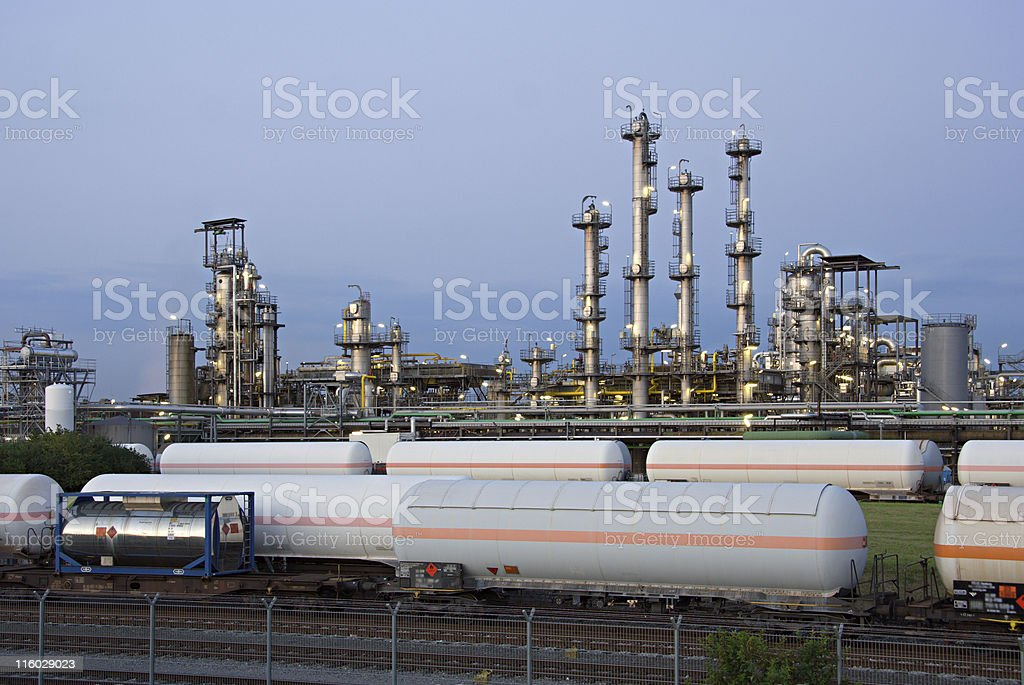 Refinery And Railroad Cars stock photo