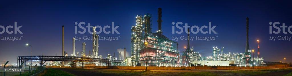 Refinery At Night Panorama stock photo