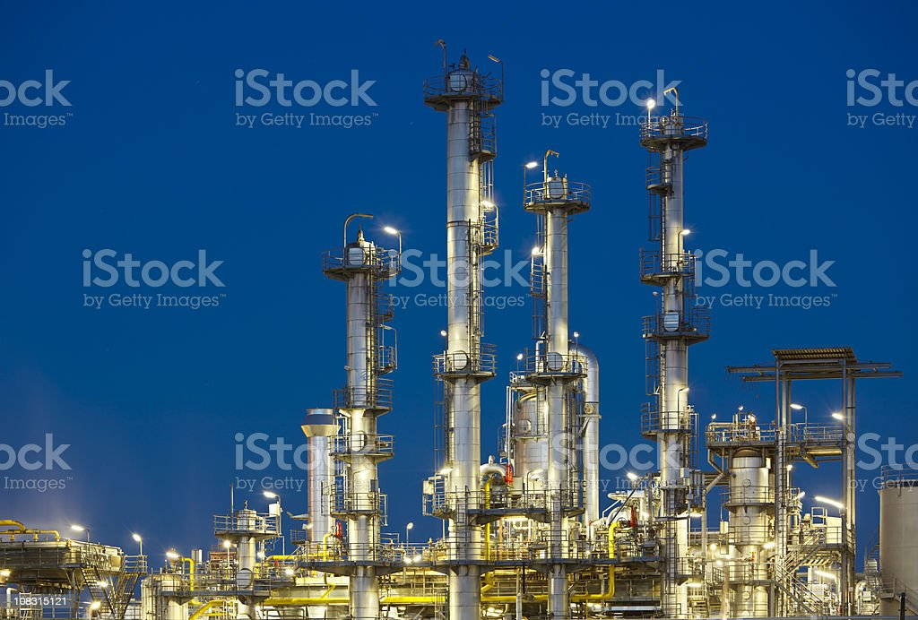 Refinery At Night royalty-free stock photo