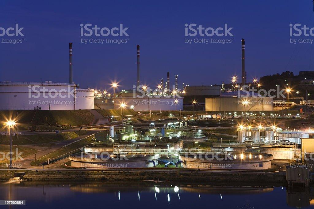 Refinery at night royalty-free stock photo