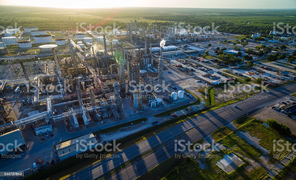 Refinery at Sunset stock photo
