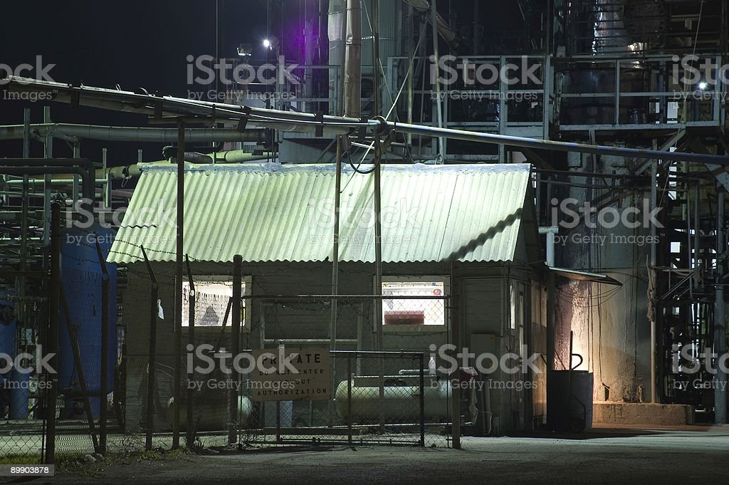 Refinery Building at Night royalty-free stock photo