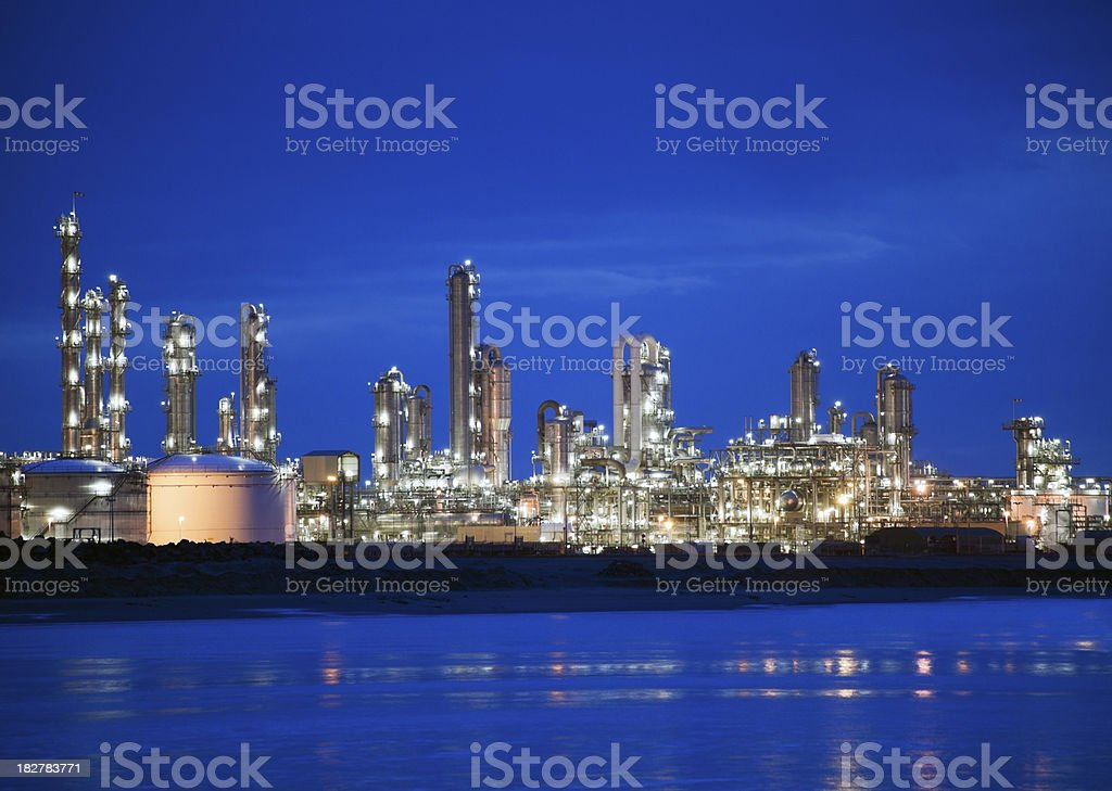 Refinery complex at night stock photo
