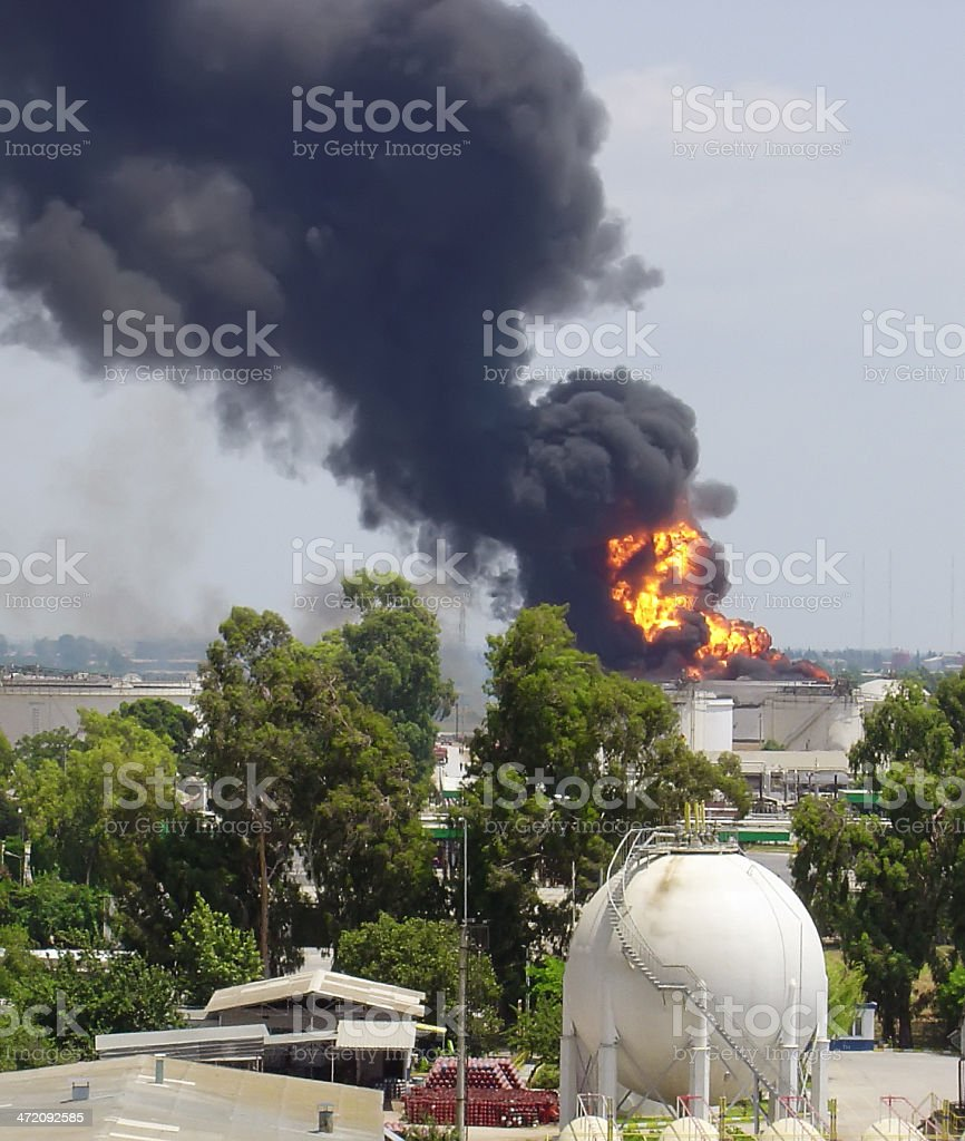 Refinery Explosion with Flames royalty-free stock photo