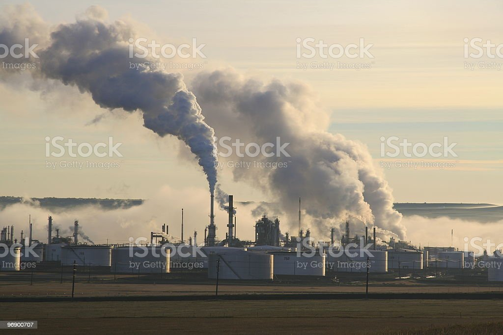 Refinery in Early Morning Fog stock photo