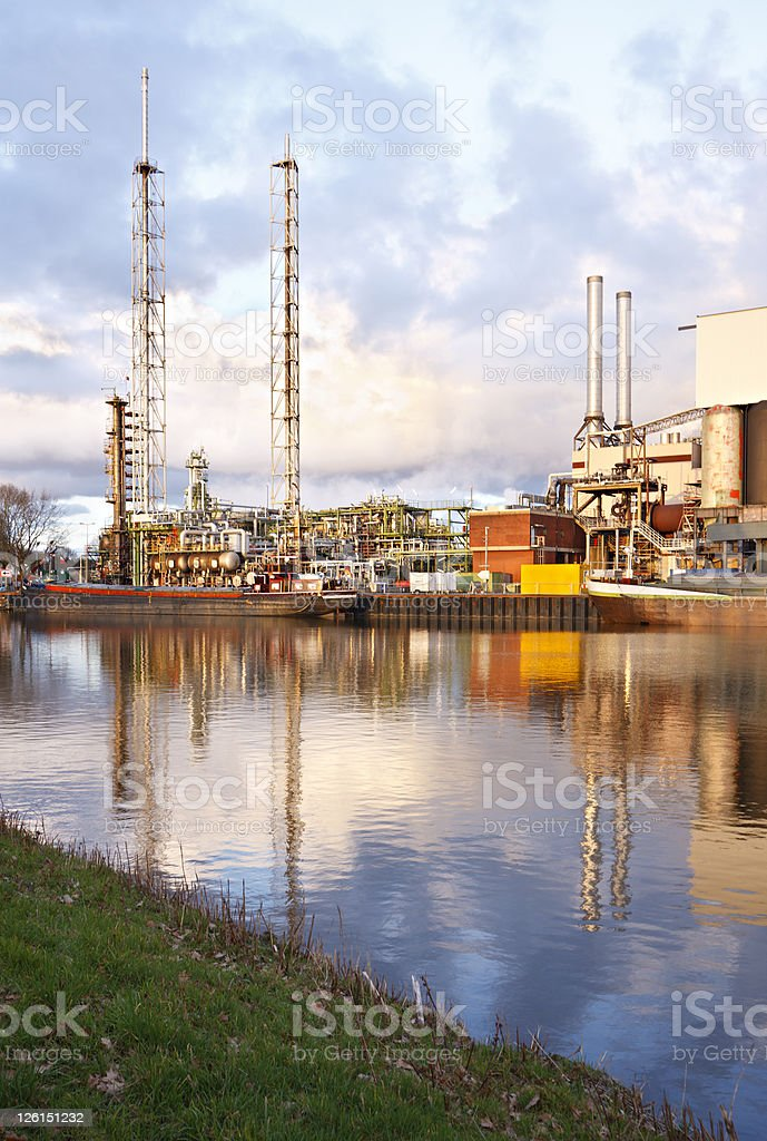Refinery In Warm Evening Light royalty-free stock photo
