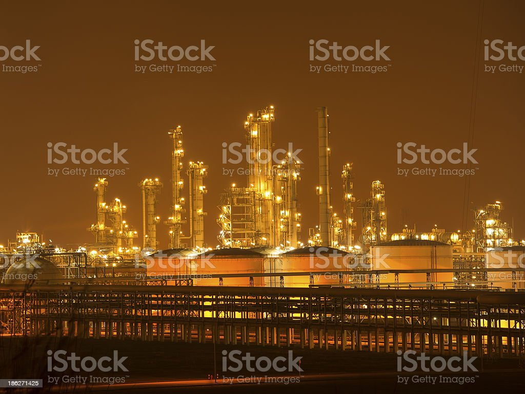 Refinery industrial plant with Industry boiler at night royalty-free stock photo
