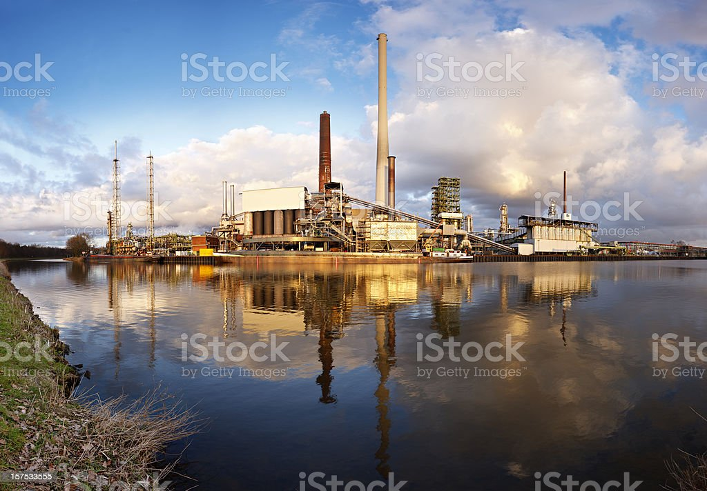 Refinery Panorama With Reflection royalty-free stock photo