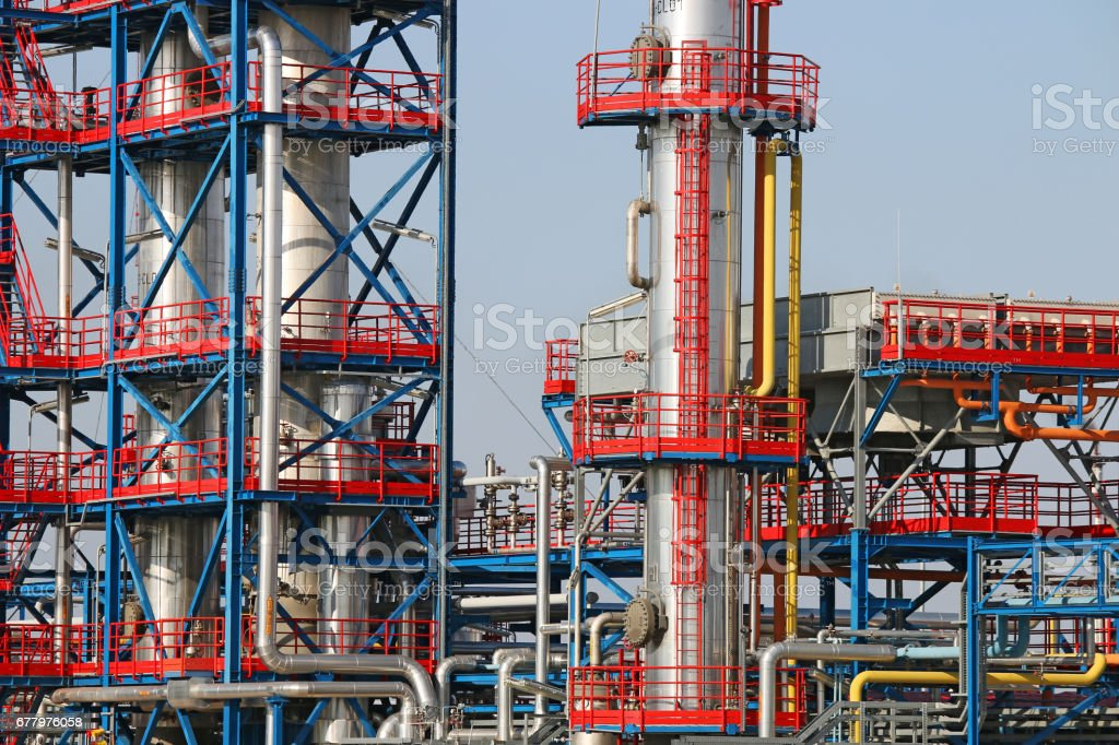 refinery petrochemical plant oil industry detail stock photo